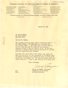 Letter from Federal Council of the Churches of Christ in America to W. E. B. Du Bois