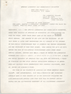 African Liberation Day Coordinating Committee Press Release, April 27, 1972