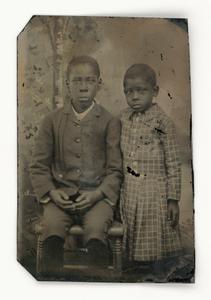 Tintype of two children