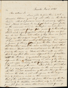 Letter from Luther Wiswall, Brooks, [Maine], to Amos Augustus Phelps, 1845 Nov[ember] 5