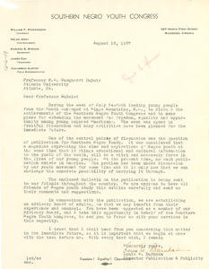 Letter from Southern Negro Youth Congress to W. E. B. Du Bois