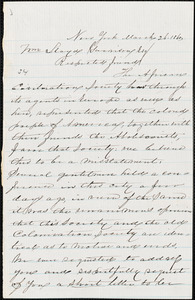 Thumbnail for Letter from Charles Lewis Reason and George Thomas Downing, New York, [New York], to William Lloyd Garrison, 1860 March 26