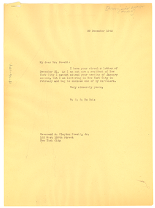 Letter from W. E. B. Du Bois to A. Clayton Powell, Jr.