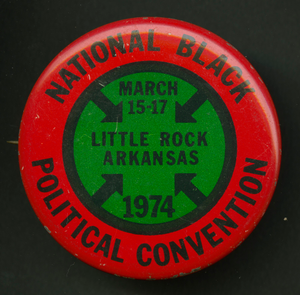 Pinback button promoting the National Black Political Convention