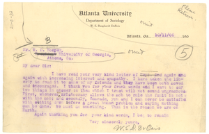 Letter from W. E. B. Du Bois to W. D. Hooper