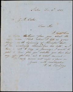 A. DeCaraduc, Aiken, S.C., autograph letter signed to Ziba B. Oakes, 12 December 1853