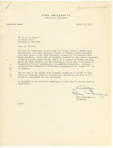 Letter from Fisk University Library to W. E. B. Du Bois