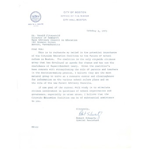 Letter, Mass Advisory Council on Education, October 2, 1973.
