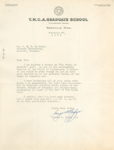 Letter from George F. Bagby III to W. E. B. Du Bois