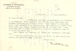 Thumbnail for Letter from George W. Mitchell to W. E. B. Du Bois