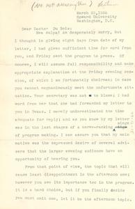 Letter from Alain Locke to W. E. B. Du Bois