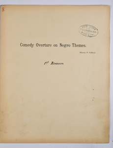 Gilbert, Henry F. / COMEDY OVERTURE ON NEGRO THEMES, Bassoon PART.