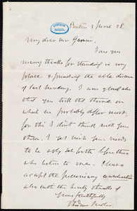 Letter from Theodore Parker, Boston, [Mass.], to William Lloyd Garrison, 3 June [18]58