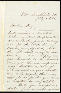 Letter from Jehiel Claflin, West Brookfield, Vermont, to Samuel May, July 31, 1861