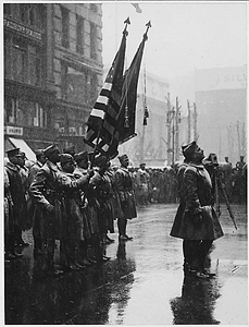"""""""Buffaloes"""", 367th Infantry, [African American] return colors to Union League Club. Men drawn up in..."""