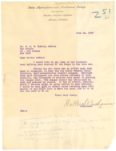 Letter from Alabama State Agricultural and Mechanical College to W. E. B. Du Bois