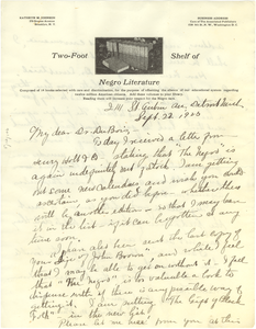 Letter from Kathryn M. Johnson to W. E. B. Du Bois