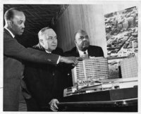 Hartford Redevelopment Project model with Corneal A. Davis, Samuel J. Collers, and Frank T. Simpson , Hartford, 1958