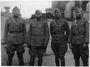 [African American] Officers of 366th Infantry Back on Aquitania. These officers, all of whom ha...