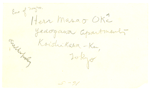 Address of Herr Masao Oka