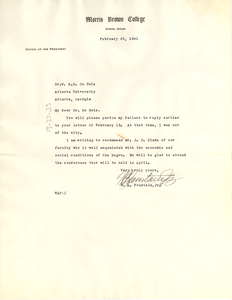 Letter from Morris Brown College to W. E. B. Du Bois