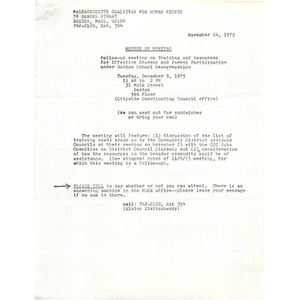 Massachusetts Coalition for Human Rights meeting notes, November 24, 1975.