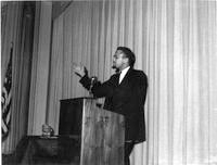 Malcolm X delivering speech, 1965