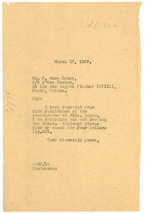 Letter from W. E. B. Du Bois to F. Marc Henry