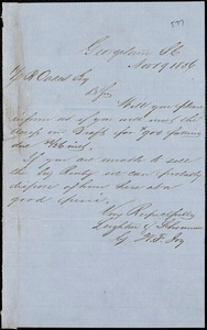 Leighton & Sherman (W.F. Joy), Georgetown, manuscript note signed to Ziba B. Oakes, 19 November 1856