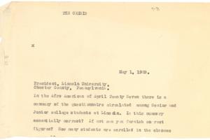 Letter from W. E. B. Du Bois to the President of Lincoln University [fragment]