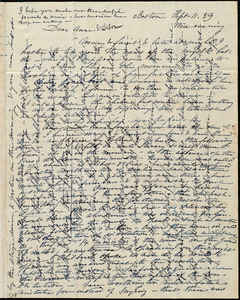 Letter from Caroline Weston, Boston, [Mass.], to Anne Warren Weston and Deborah Weston, Sept. 11, [18]'39, Wed. evening
