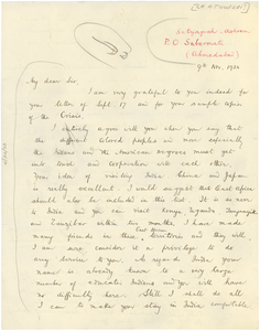 Letter from Benarsidas Chaturvedi to W. E. B. Du Bois