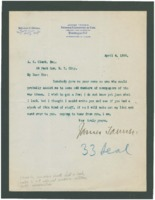 Letter from James Tanner to A.S. Clark