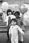Children release balloons, Los Angeles, 1983
