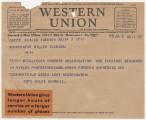Telegram from Rote Hilfe Schweiz in Zurich, Switzerland, to Governor B.M. Miller in Alabama.