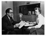 Langston Hughes with Eleanor McKinney at KPFA, 1958