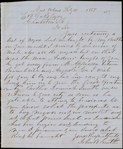 John B. Smith, New Orleans, La., autograph letter signed to Ziba B. Oakes, 21 February 1857