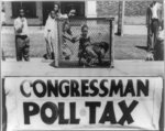 """[Caged monkey on platform with sign reading """"Congressman Poll Tax"""" displayed by the NAACP Detroit branch during their """"Parade for Victory"""" march]"""