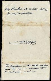 Letter to] D. Weston [manuscript