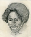 Queen Amos, Charcoal sketch by Albert Shepard, artist, Fort Bragg, NC. Ca. 1969-1970
