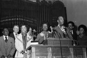 Shirley Chisholm at 16th Street Baptist Church in Birmingham, Alabama, for a speaking engagement during her presidential campaign.