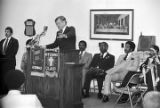 Senator Edward Kennedy speaking to ministers at Bethel Baptist Church during a campaign stop in Montgomery, Alabama.
