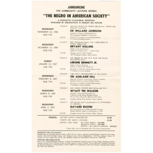 Flier announcing the community lecture series The negro in American society