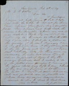 A. J. McElveen, Sumterville, S.C., autograph letter signed to Ziba B. Oakes, 6 February 1854