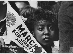 Thumbnail for Photograph of a Young Woman at the Civil Rights March on Washington, D.C. with a Banner, 08/28/1963