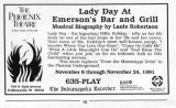 Lady Day at Emerson's bar and grill ad