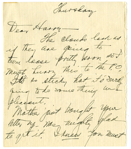 Letter from Bess W. Truman to Harry S. Truman
