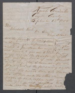 Letter from J.M.M. Costley to Michael Reed arranging the purchasing of slaves Michael Reed Papers