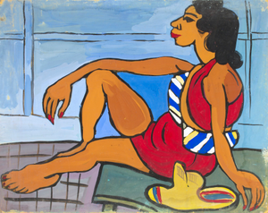 Seated Woman in Red Playsuit