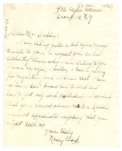 Letter from Nancy Clark to W. E. B. Du Bois